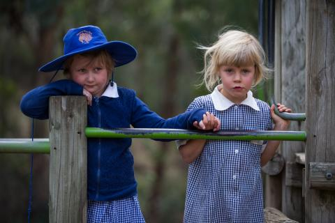 Primary school students in uniform