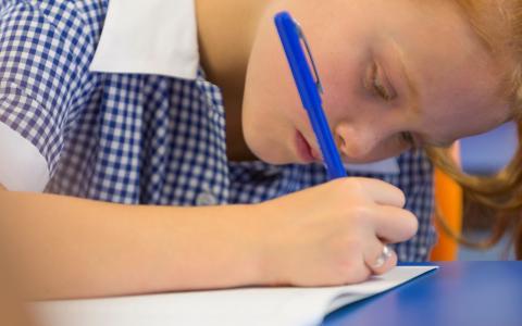 Student doing test